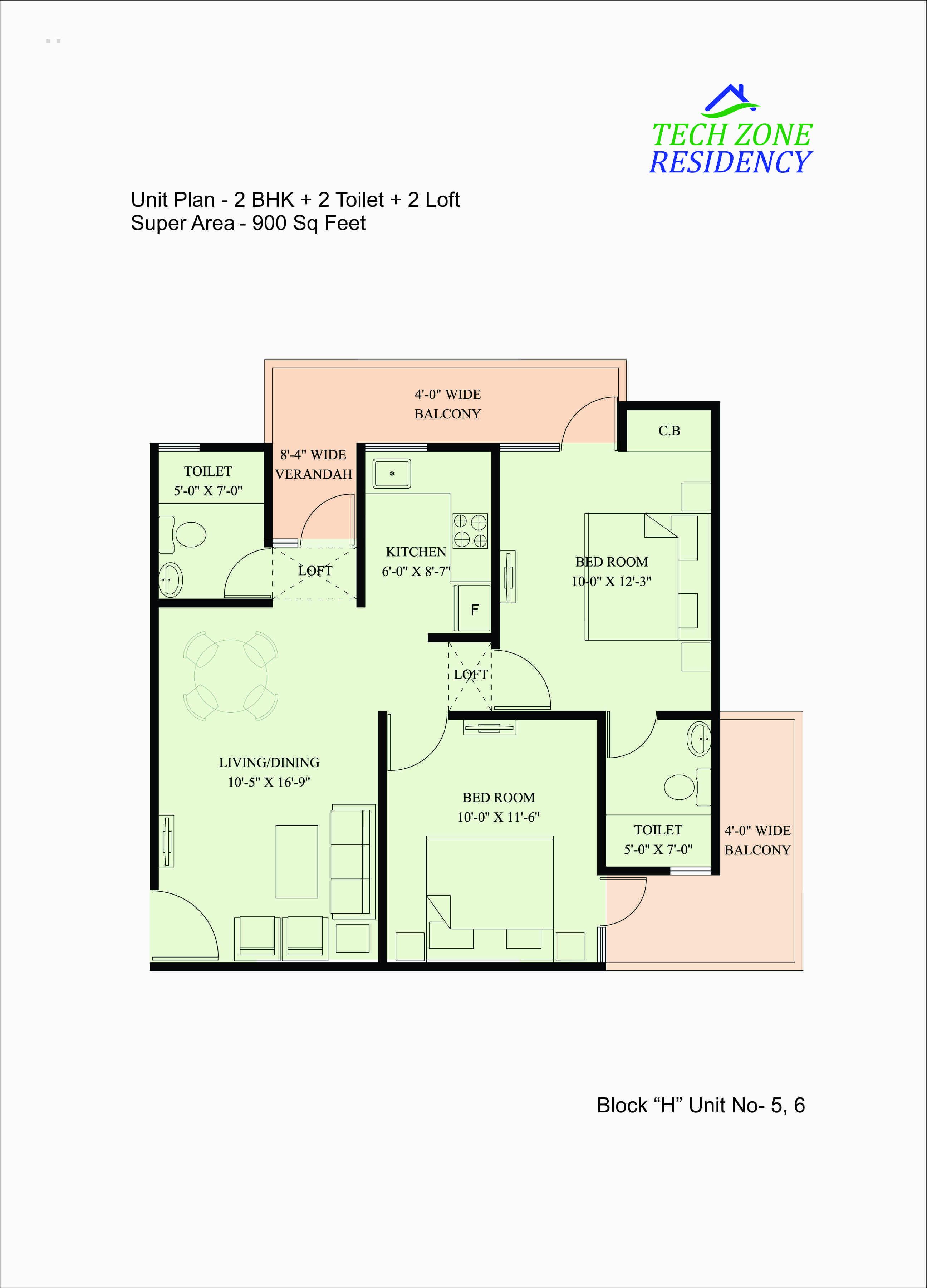 Floor plan tech zone residency 1 2 bhk flats in for X2 residency floor plan
